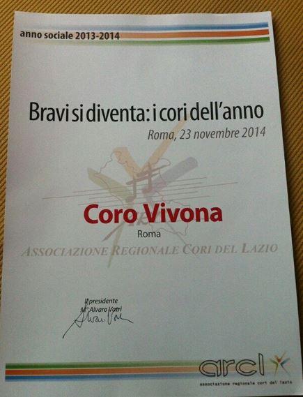 2014 DIPLOMA CORO DELL'ANNO